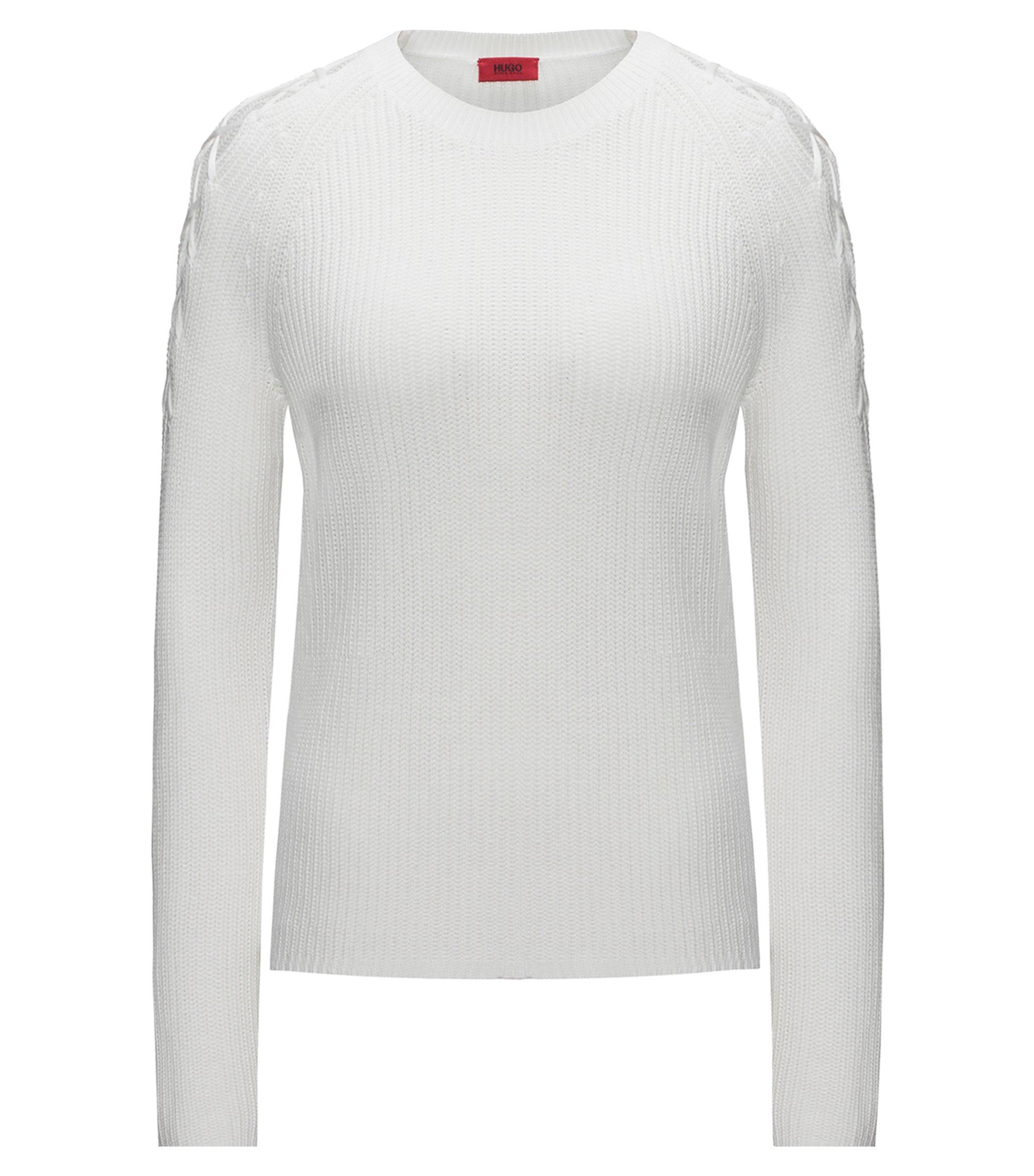 Pullover aus Baumwoll-Mix mit Seide mit Schnür-Details an den Schultern, Natur