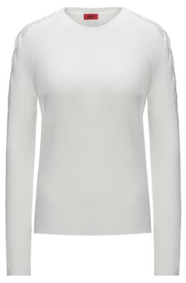 Cotton blend sweater with laced shoulders, Natural