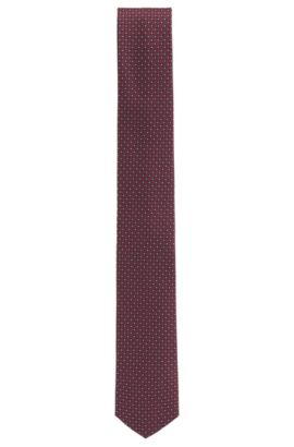 Travel Line patterned tie in water-repellent silk, Red