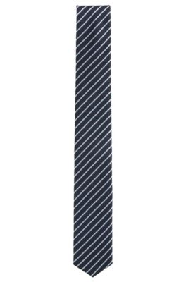 Gestreifte Travel Line Krawatte aus wasserabweisender Seide, Dunkelblau