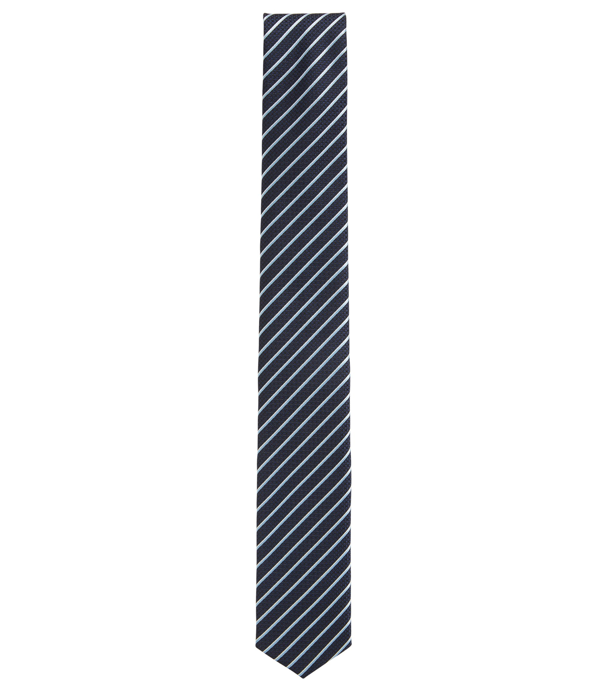Travel Line striped silk tie with waterproof finish, Dark Blue