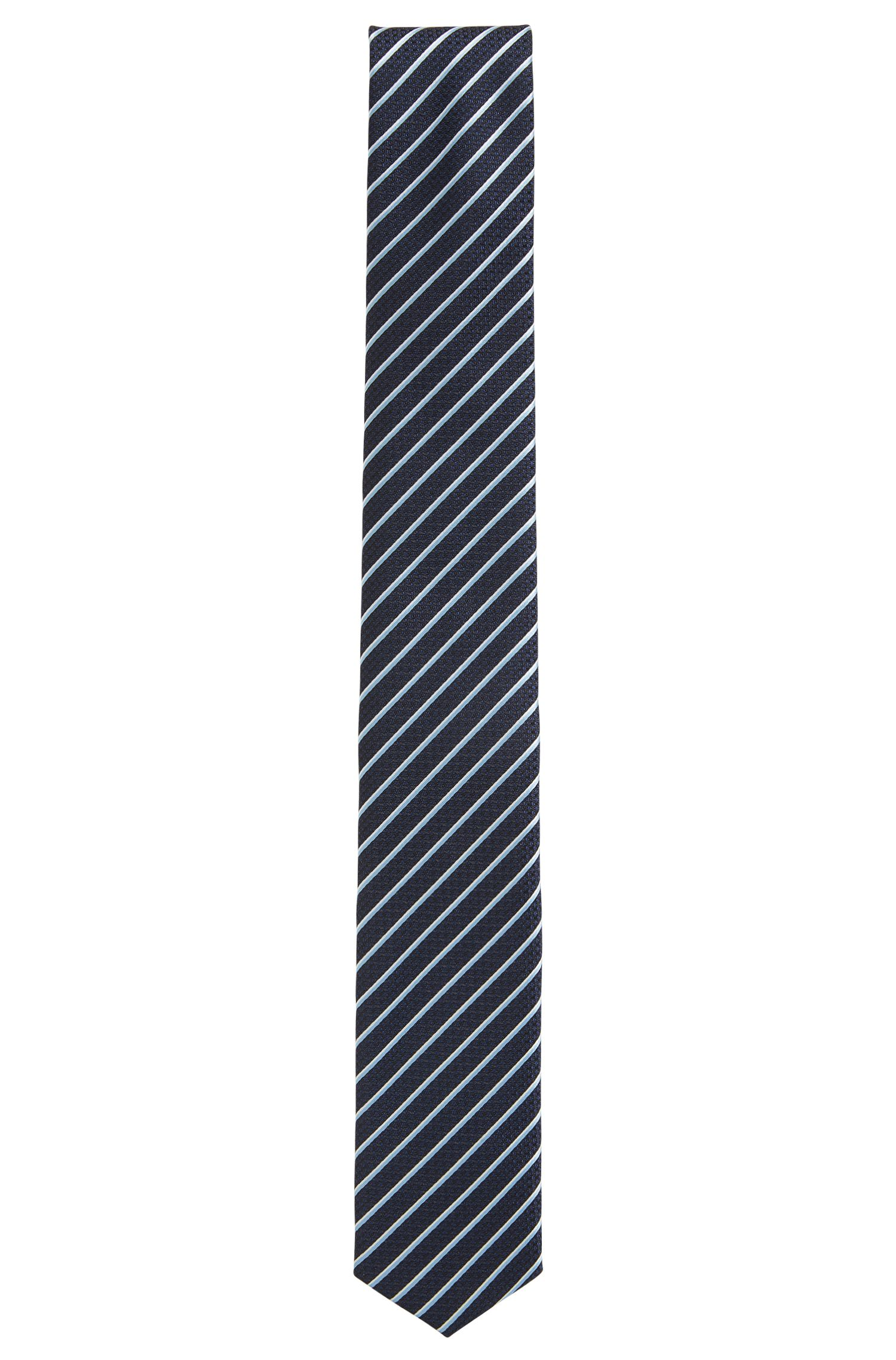 Travel Line striped silk tie with waterproof finish