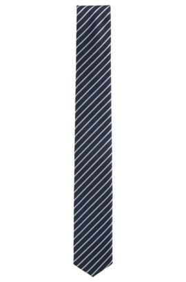 Travel Line striped silk tie with waterproof finish, Bleu foncé