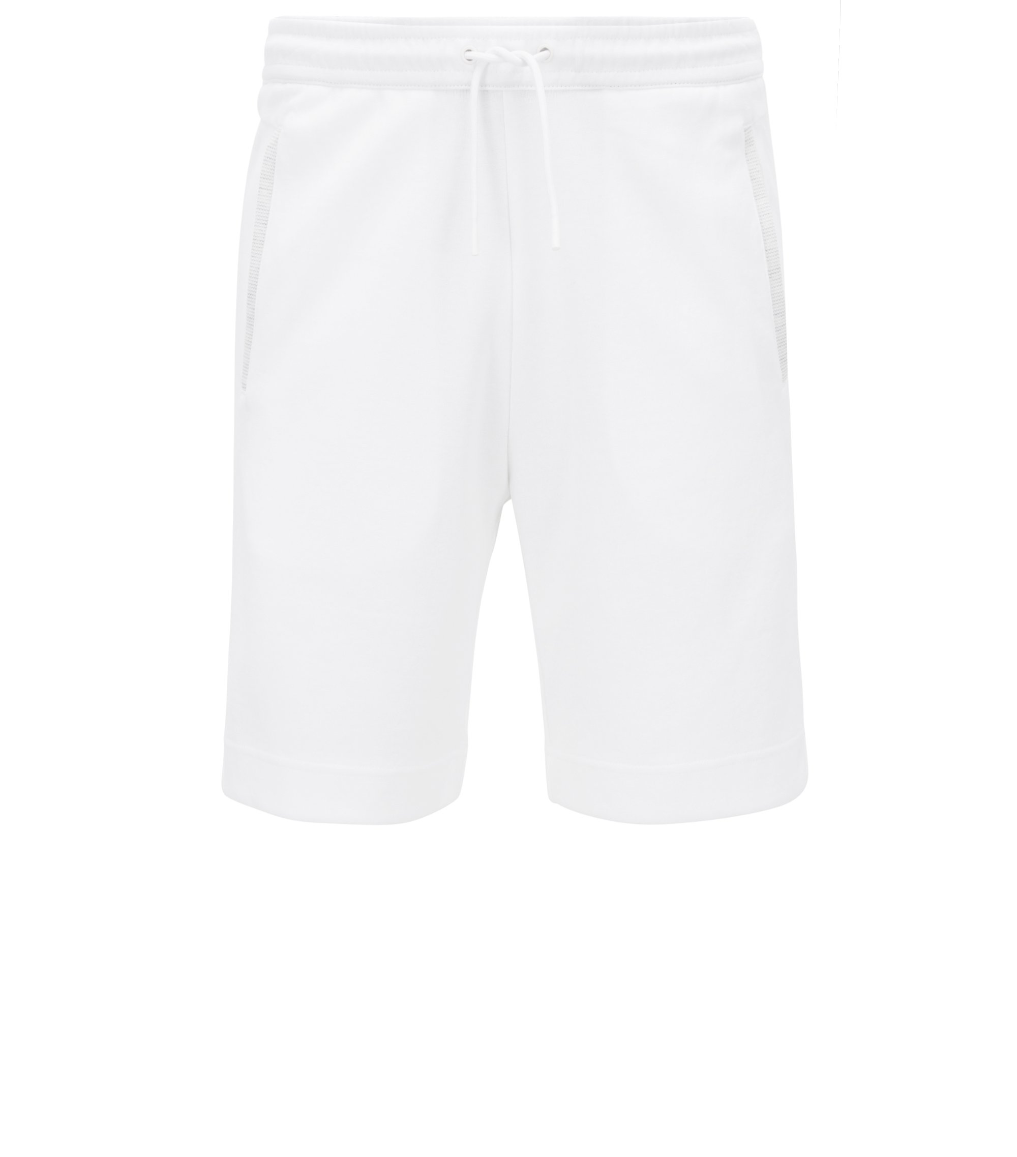 Short de jogging en coton mélangé, Blanc