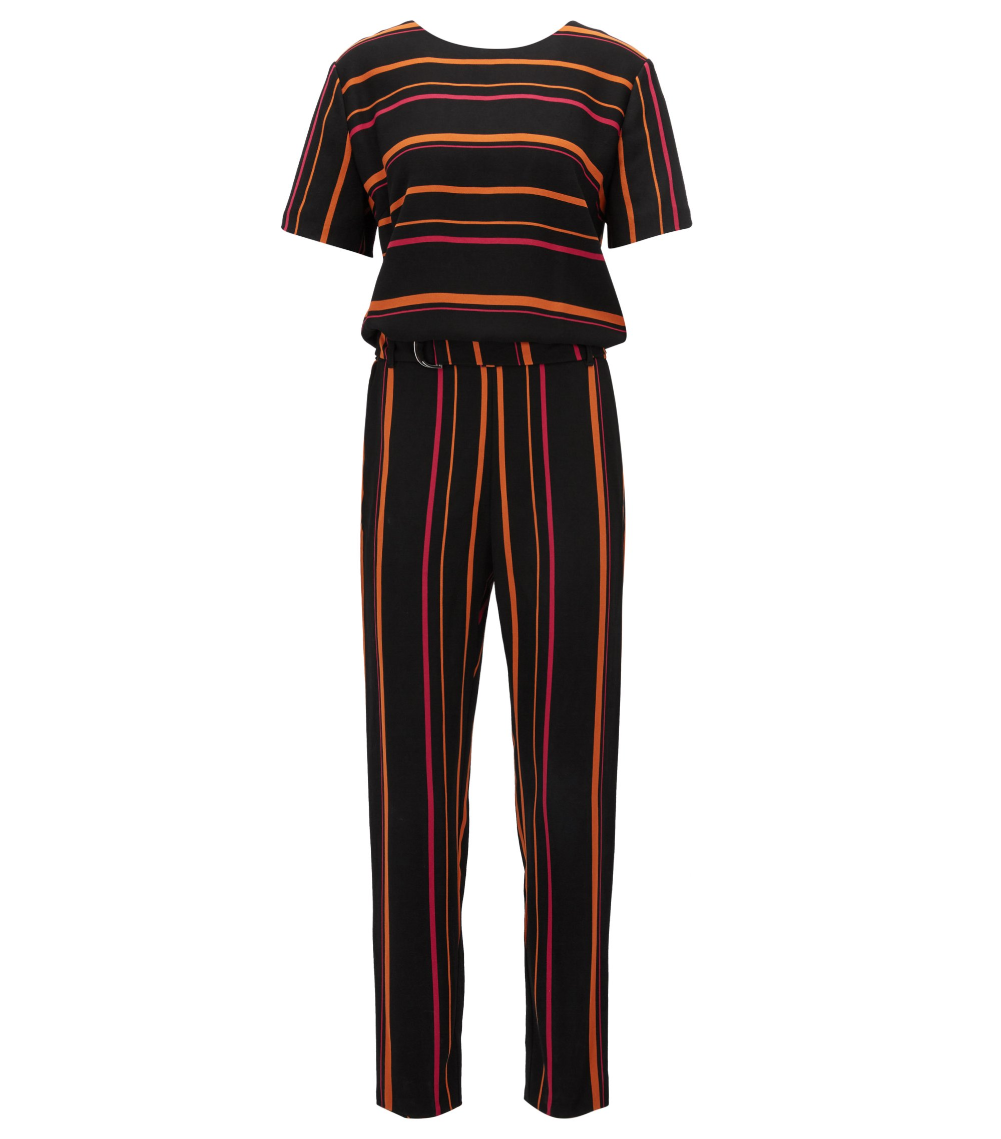 Multi-coloured striped jumpsuit in draped twill, Patterned