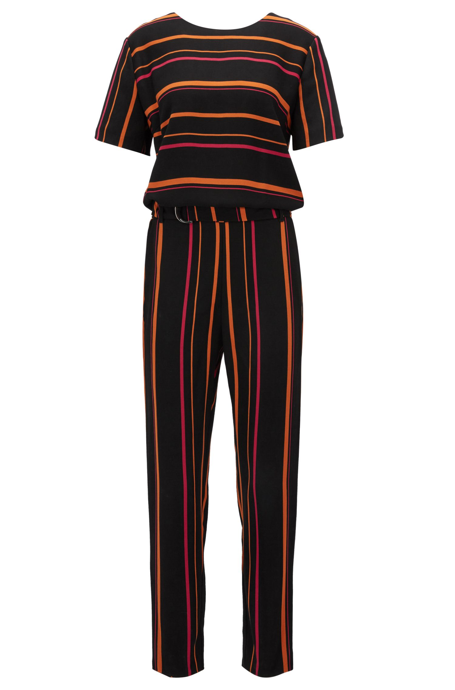 Multi-coloured striped jumpsuit in draped twill