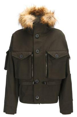 Oversized Blouson aus Baumwolle mit praktischen Details, Khaki