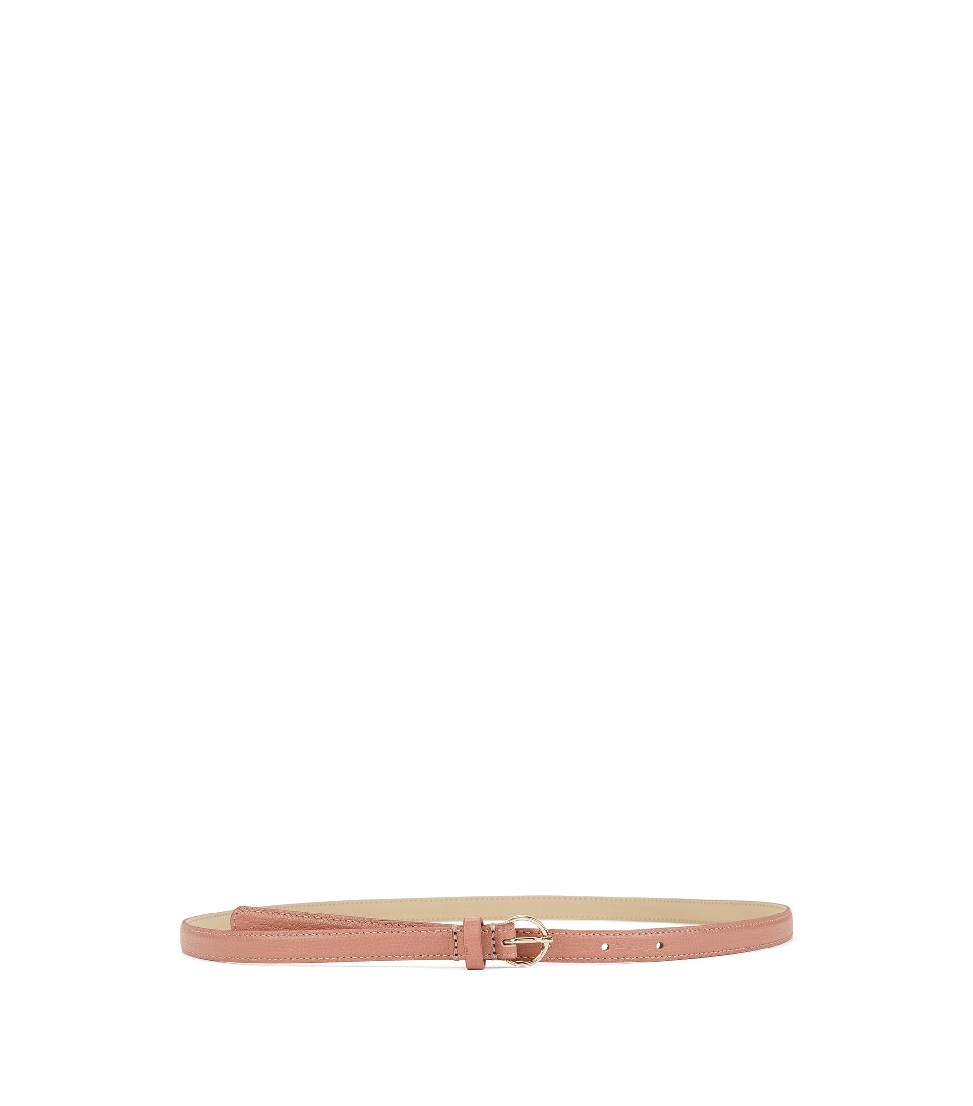Slim belt in grained Italian leather, Beige