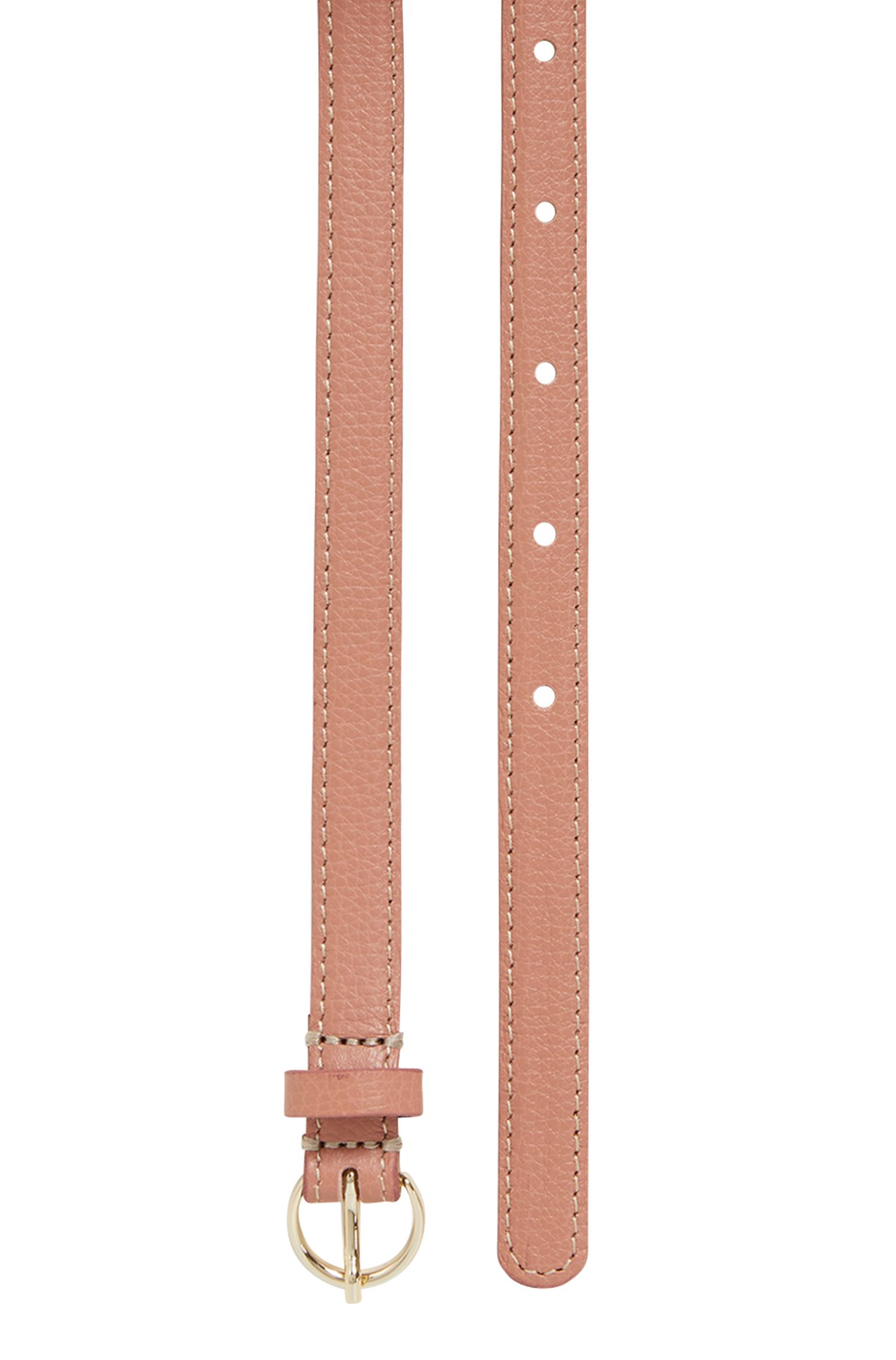 Slim belt in grained Italian leather