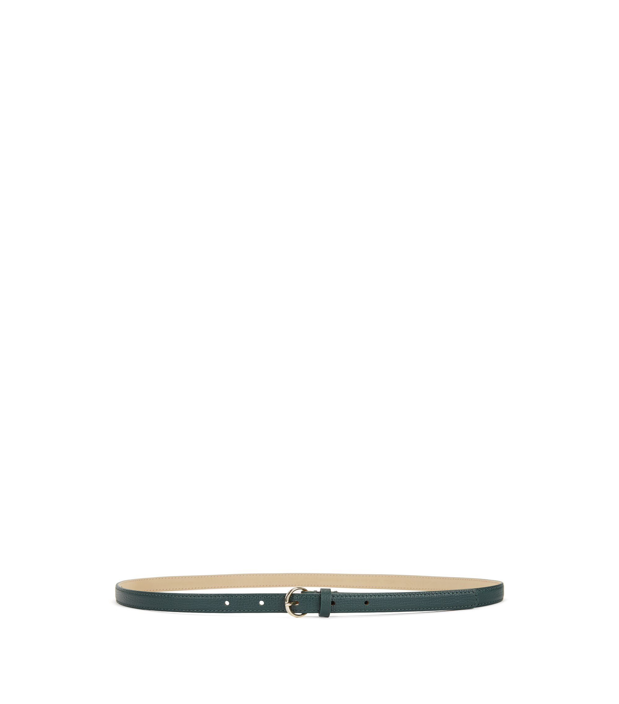 Slim belt in grained Italian leather, Dark Green