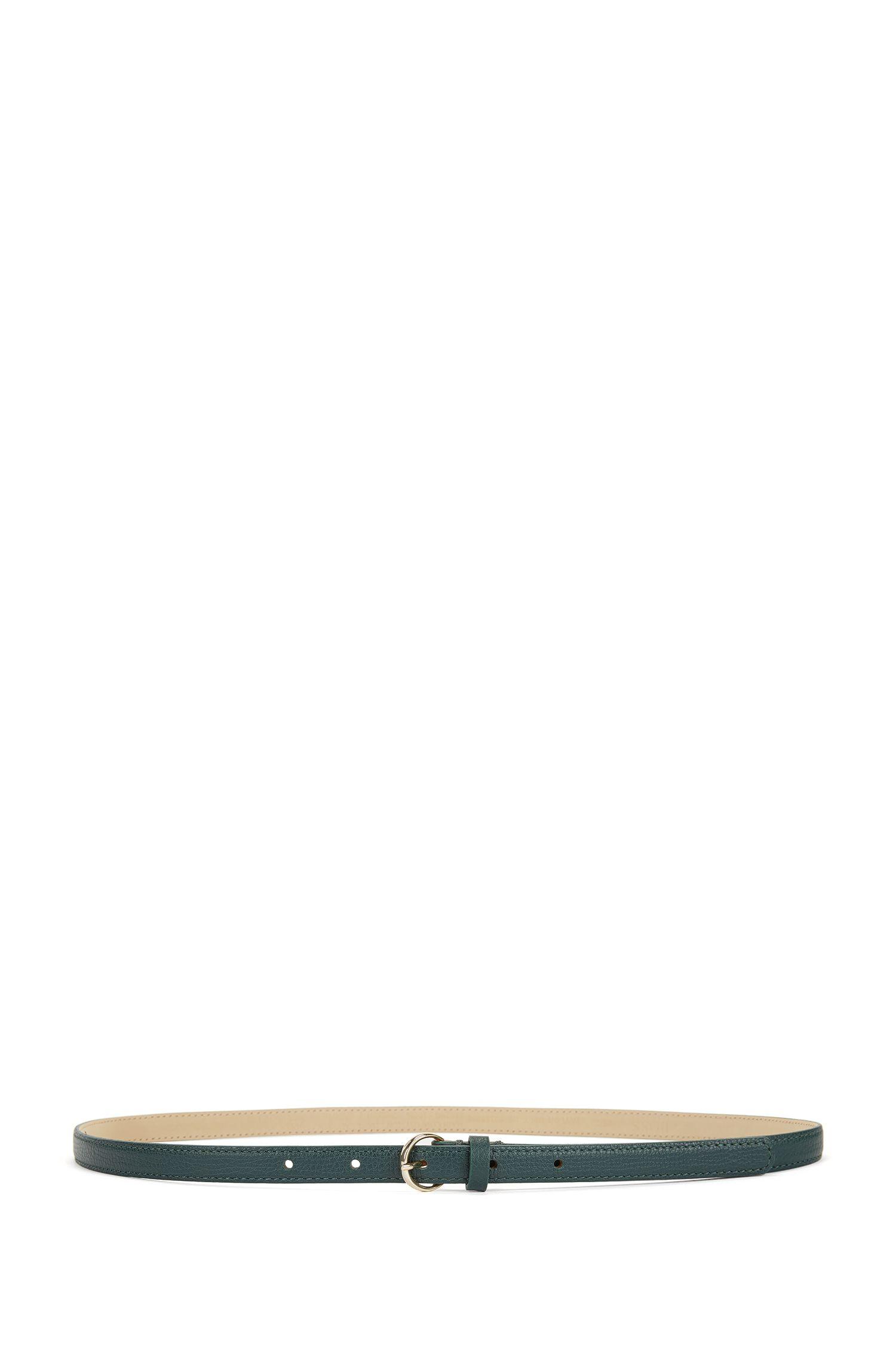 Schmaler Gürtel aus genarbtem italienischem Leder