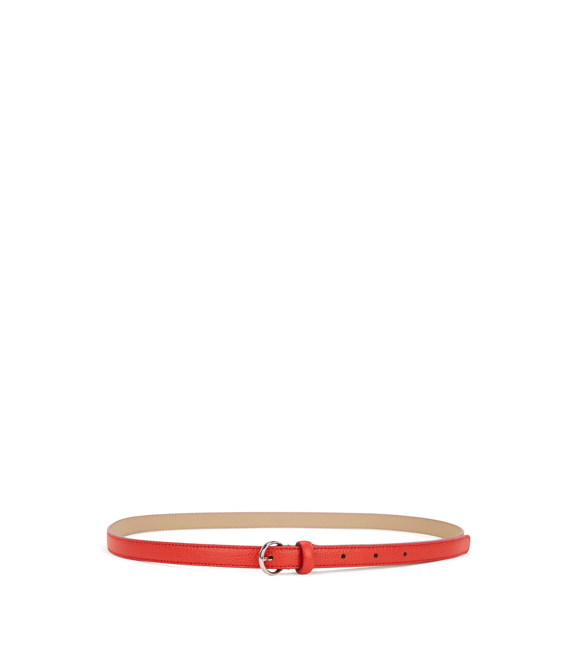 Slim belt in grained Italian leather, Red