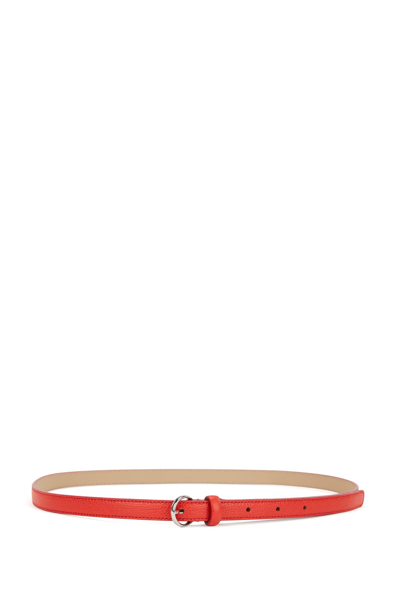 Cinturón delgado en piel italiana granulada