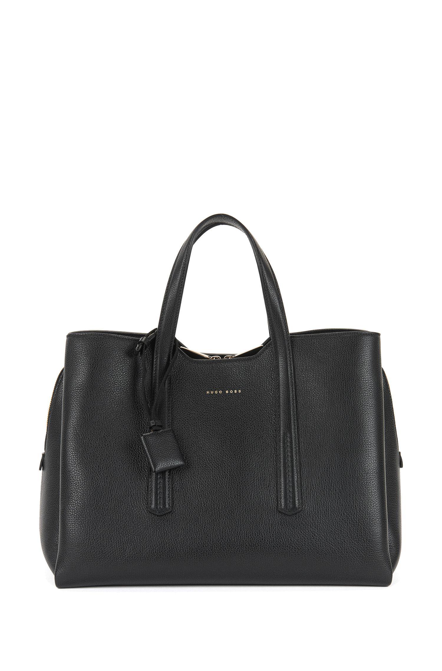 Tote Bag aus genarbtem italienischem Leder, Schwarz