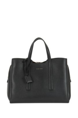 Tote bag in grained Italian leather, Black