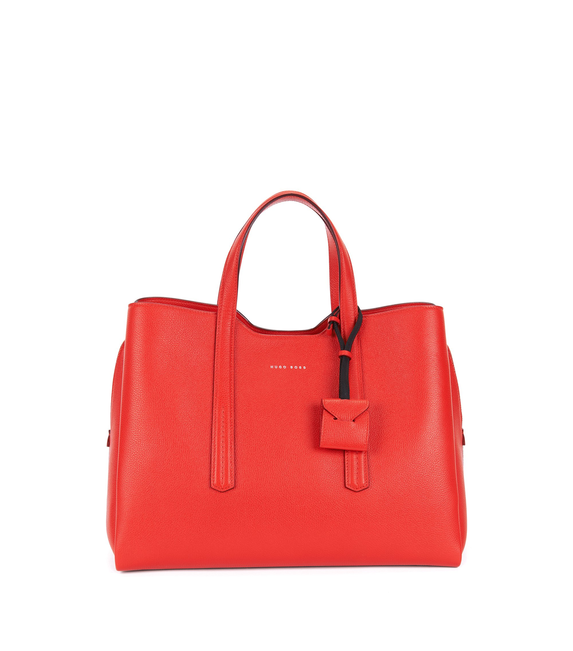 Tote bag in grained Italian leather, Red