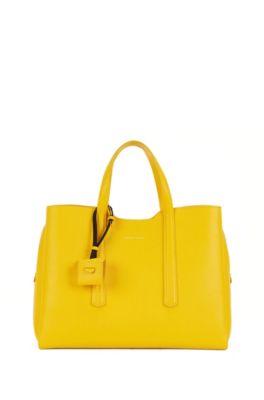 Tote Bag aus genarbtem italienischem Leder, Gelb