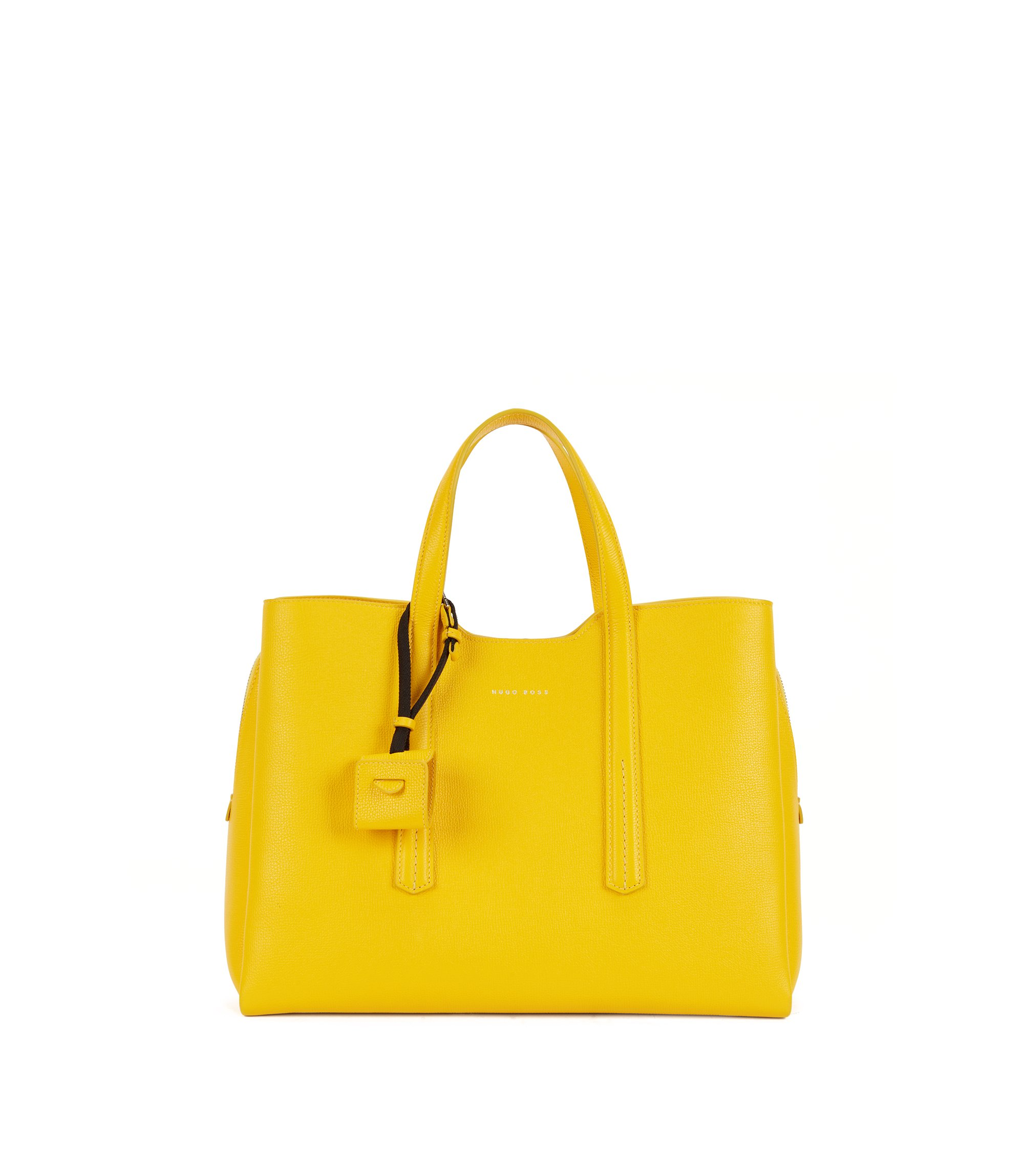 Tote bag in grained Italian leather, Yellow