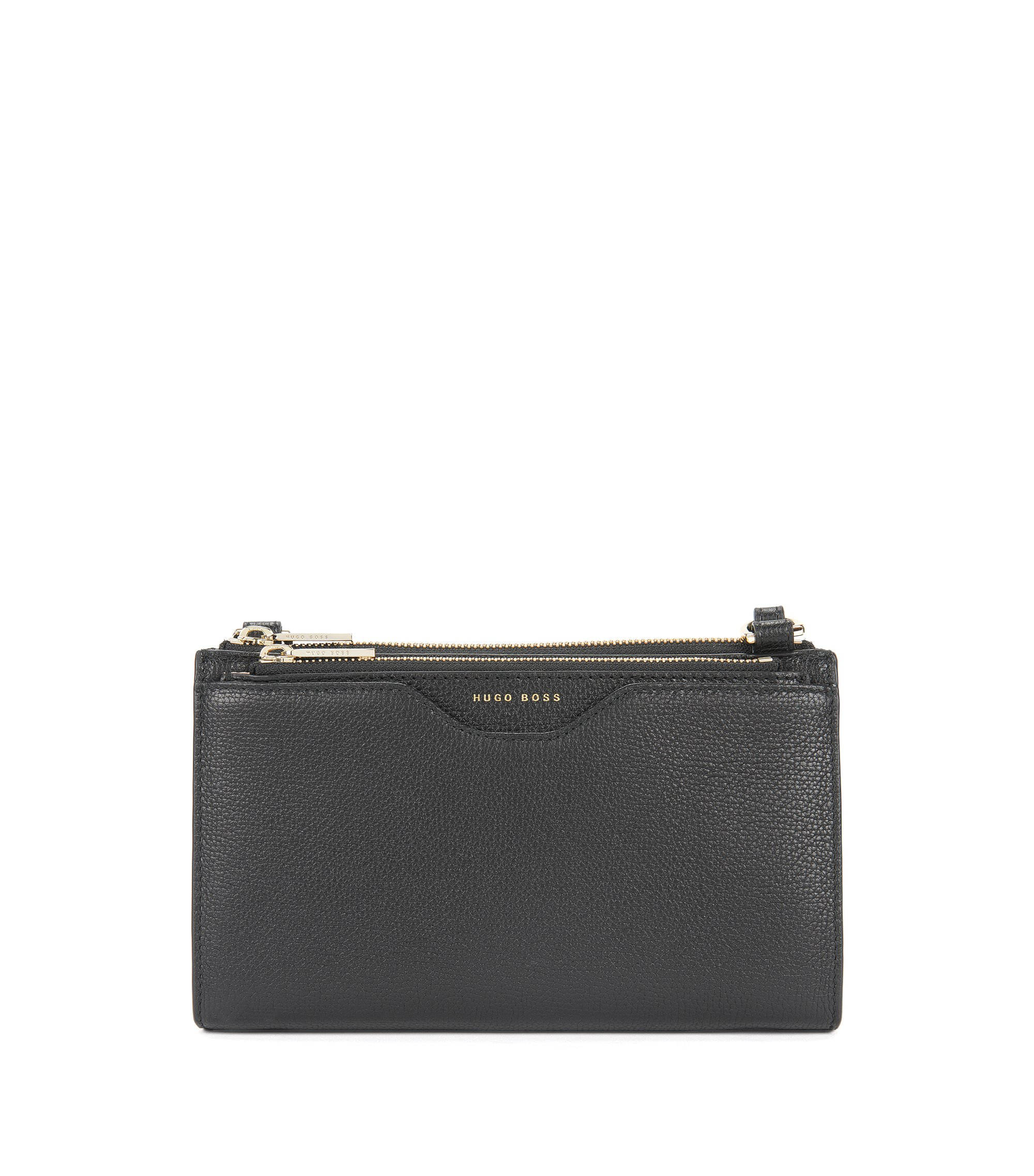 Compact bag in grained Italian leather, Black