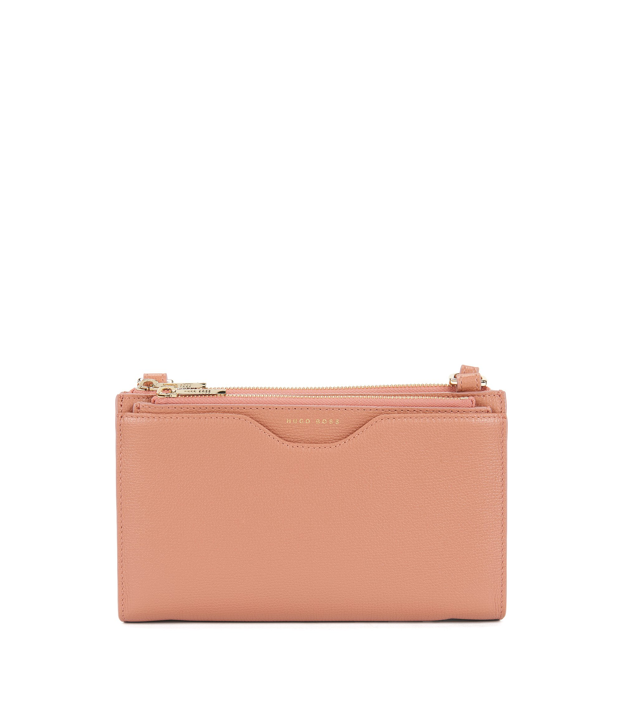 Compact bag in grained Italian leather, Open Beige