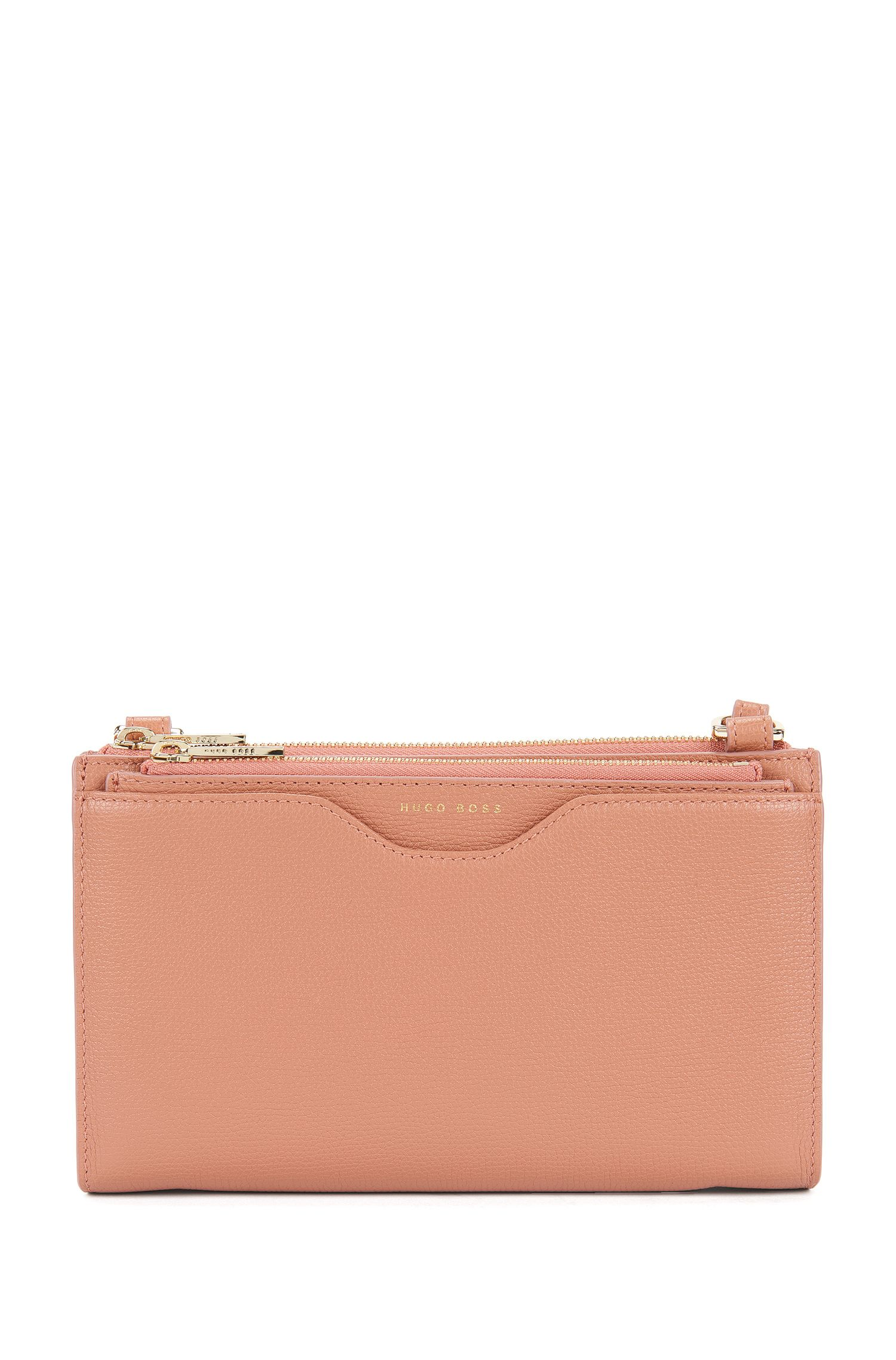 Compact bag in grained Italian leather