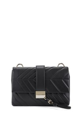 Shoulder bag in softly structured Italian leather, Black