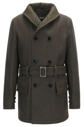 Oversized-fit coat in a virgin wool blend, Dark Green