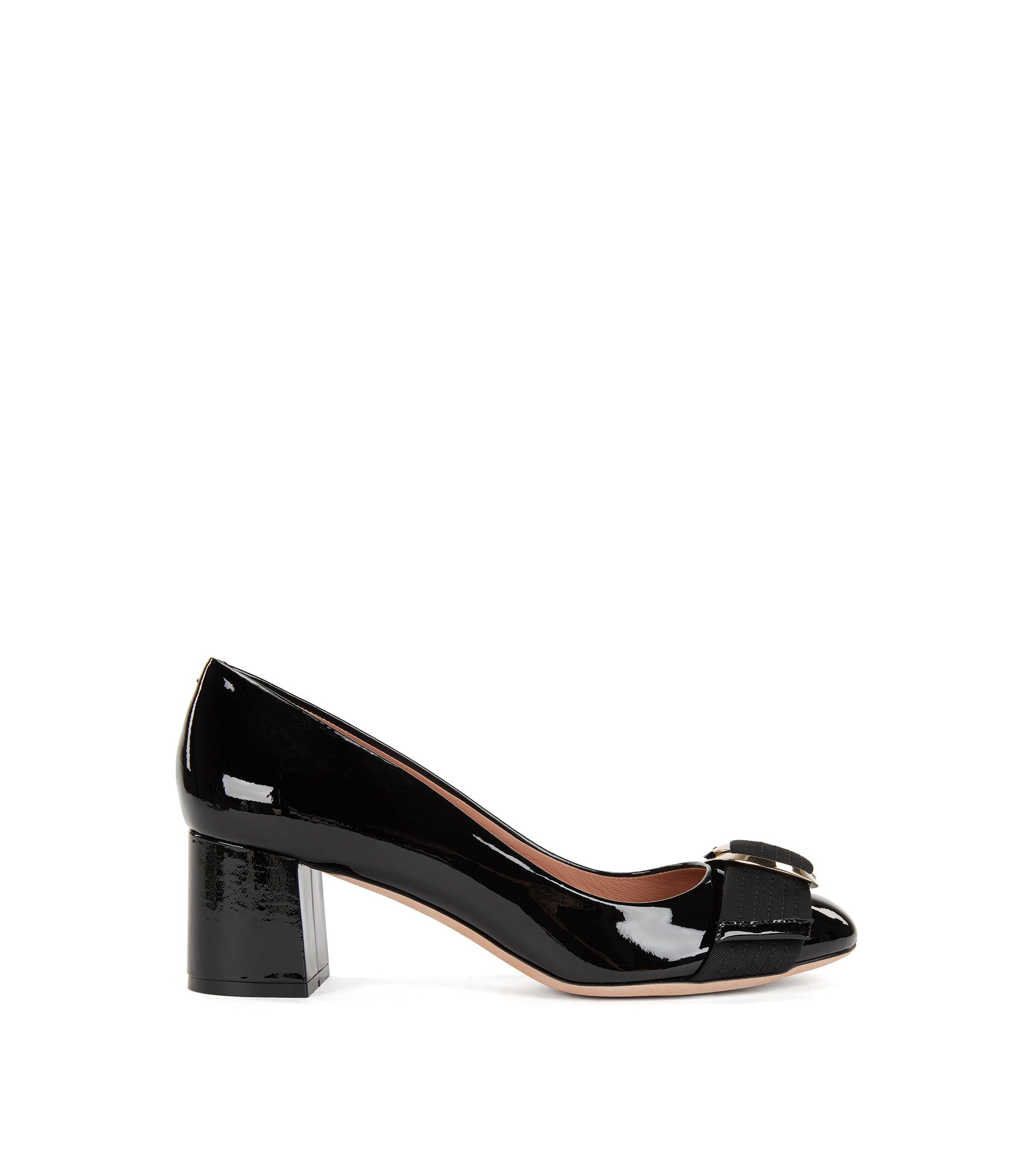 Patent leather pumps with double-ring buckle, Black
