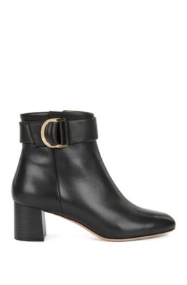 Leather ankle boots with double-ring belt detail, Black