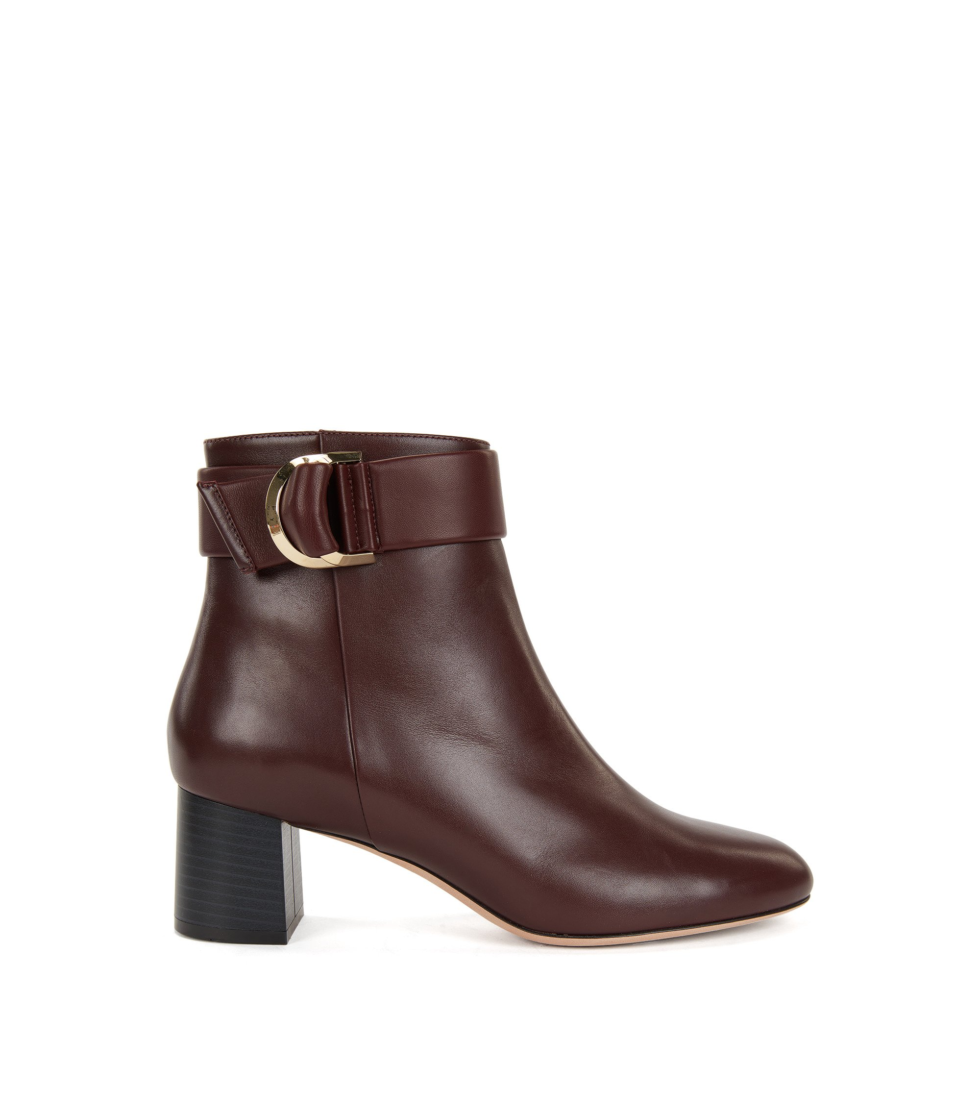 Leather ankle boots with double-ring belt detail, Dark Red