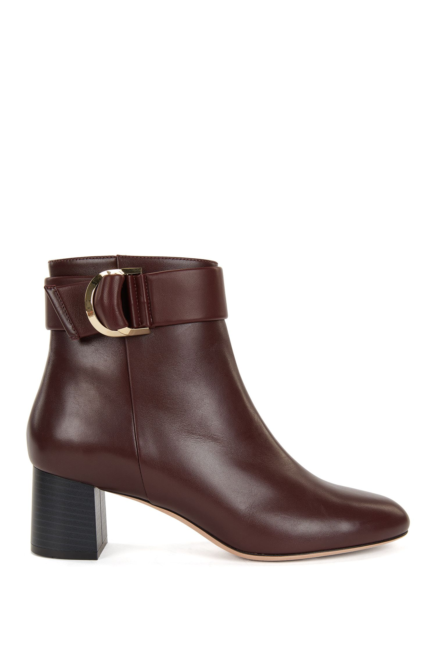 Leather ankle boots with double-ring belt detail