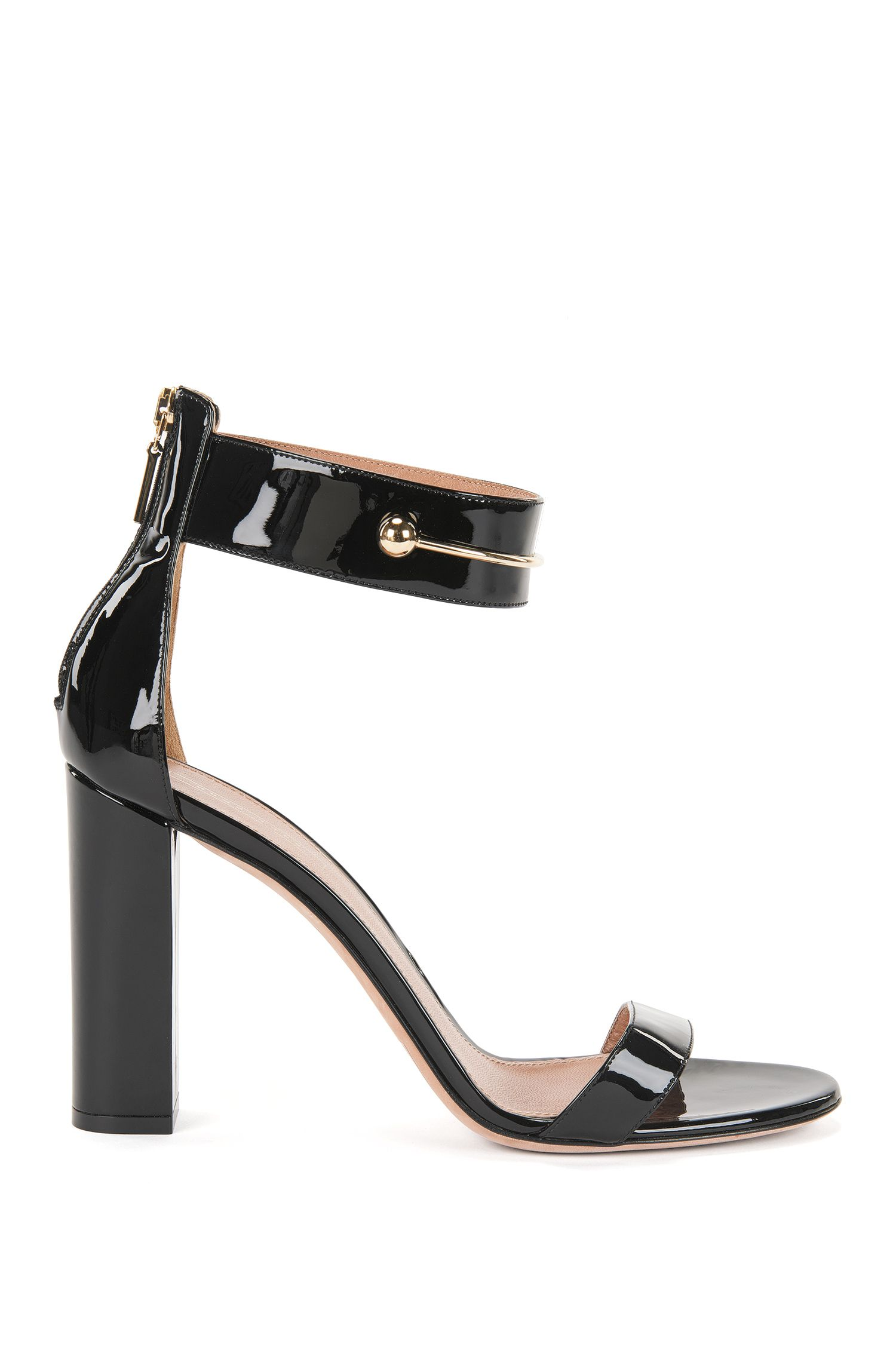 Patent leather sandal with detailed ankle strap