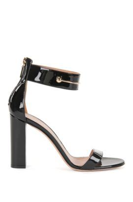 Patent leather sandal with detailed ankle strap, Black