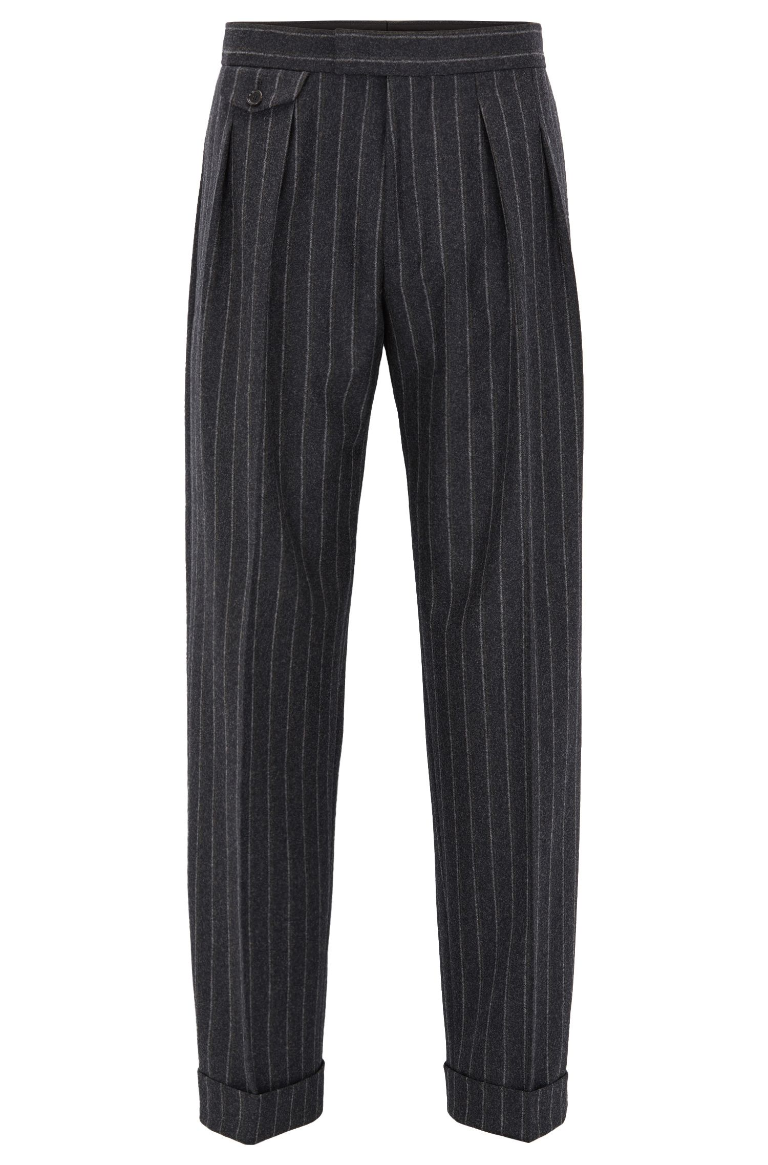 Relaxed-fit pleated chalk-stripe trousers in virgin wool