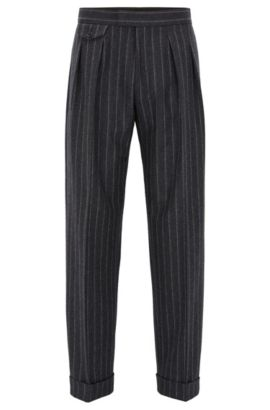 Relaxed-fit pleated chalk-stripe trousers in virgin wool, Dark Grey