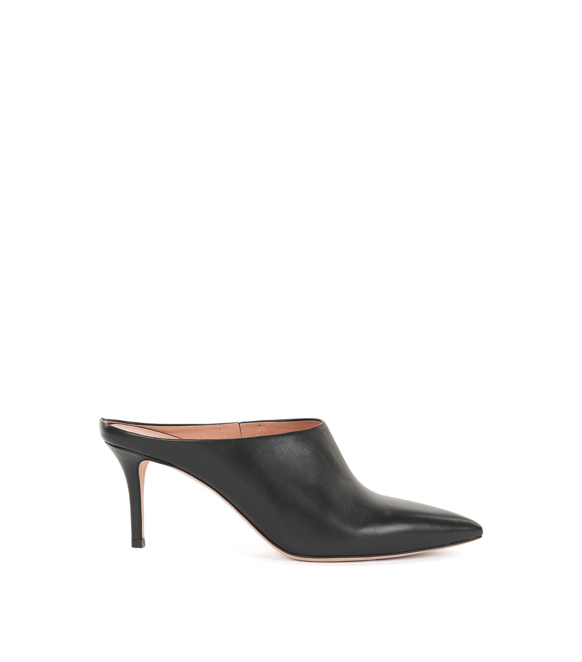 Pointed-toe mules in Italian leather, Black