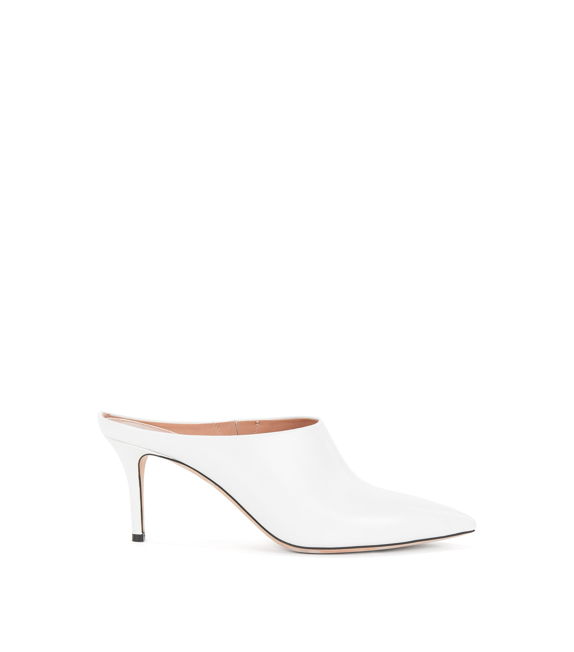 Pointed-toe mules in Italian leather, White