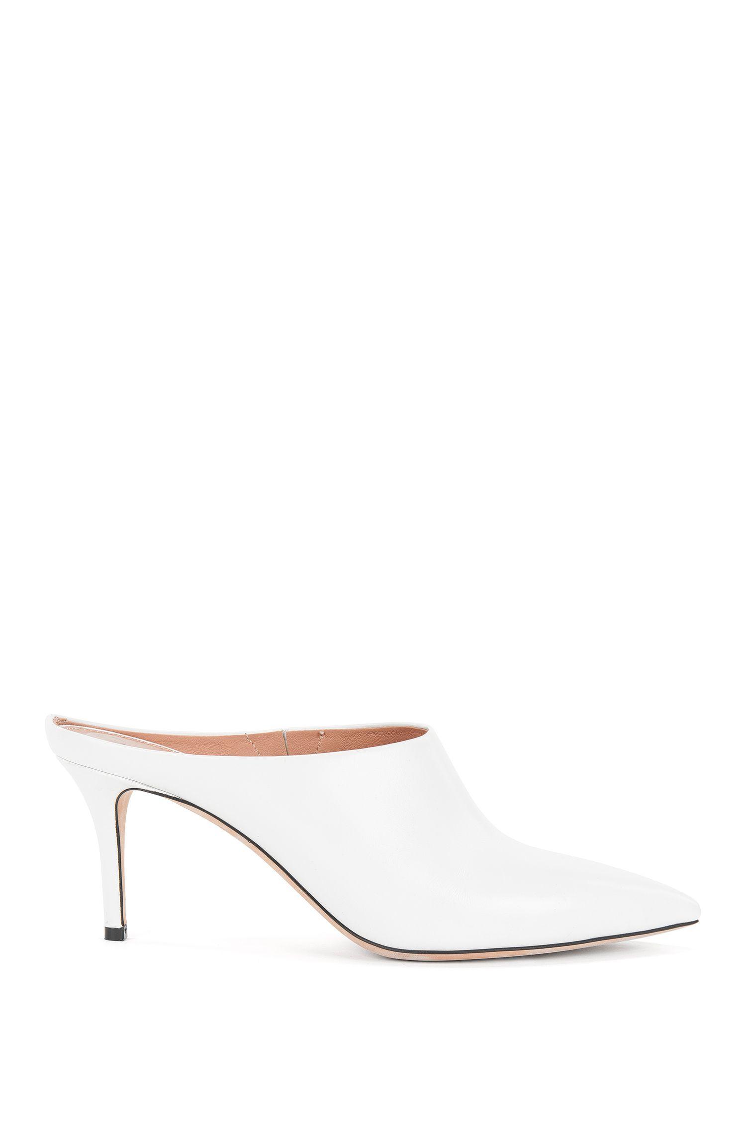 Zapatos mules con puntera afilada en piel italiana