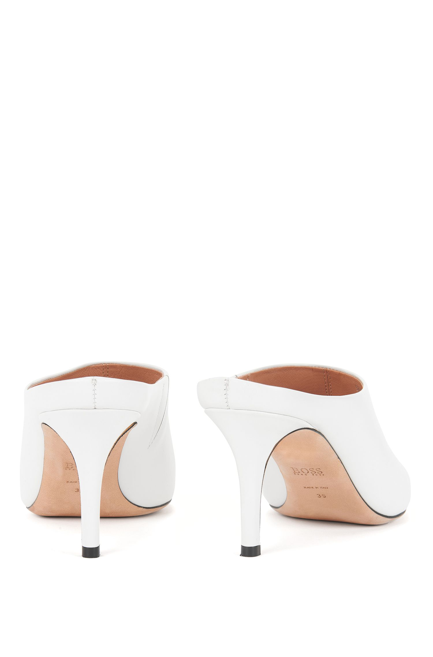 Pointed-toe mules in Italian leather