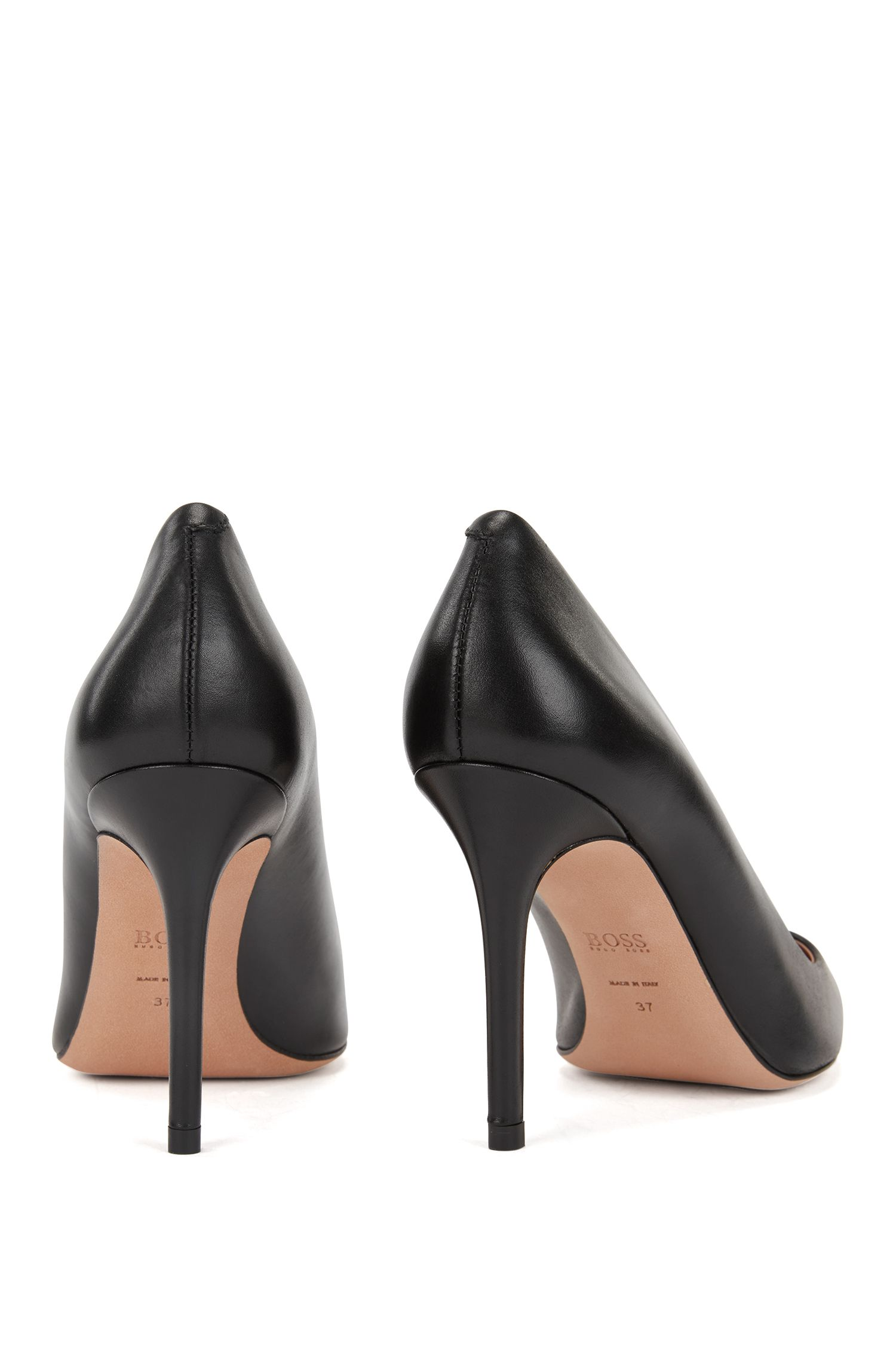 Pointed-toe court shoes in Italian leather HUGO BOSS
