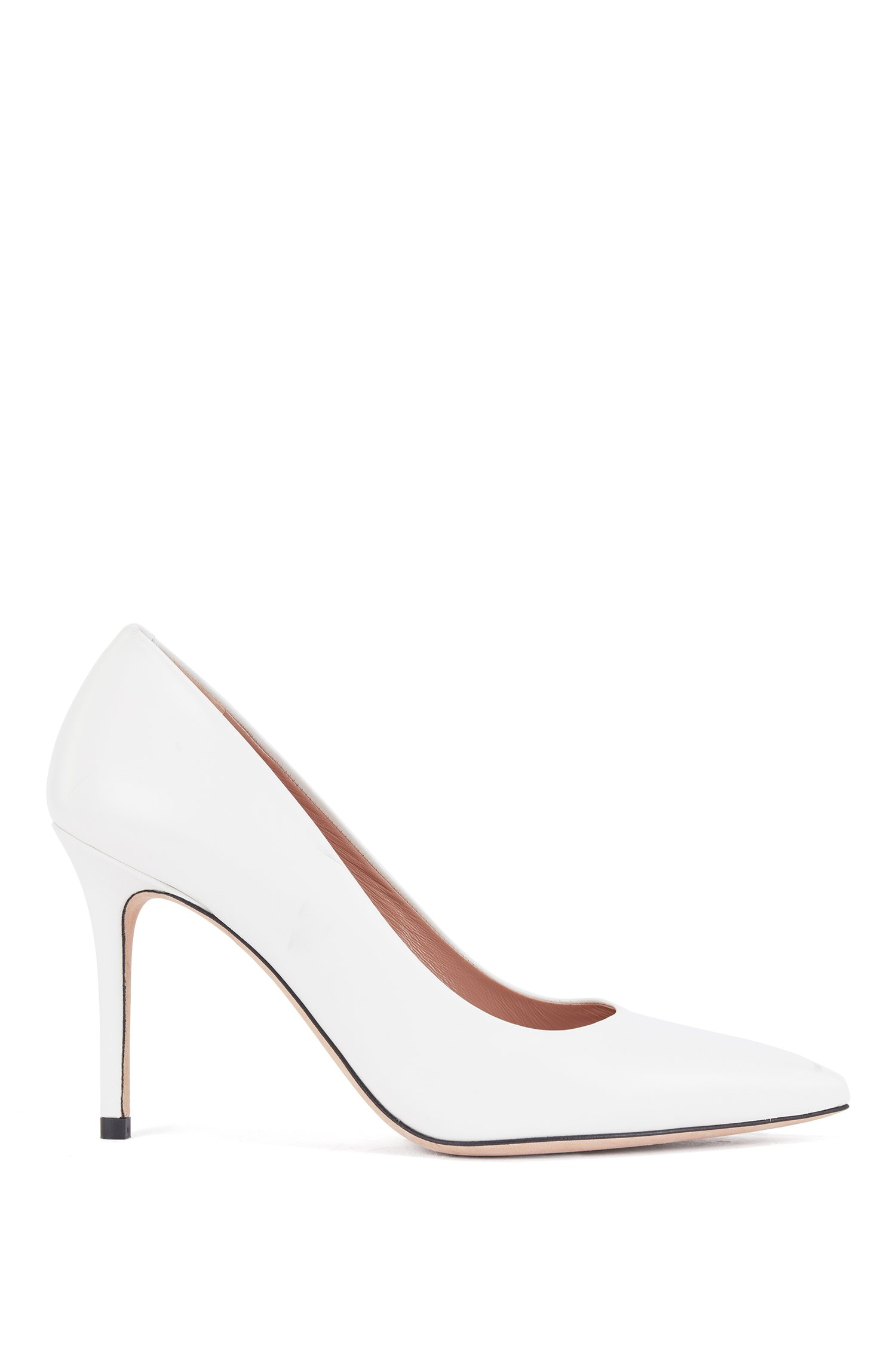 Pointed-toe pumps in smooth Italian leather, White