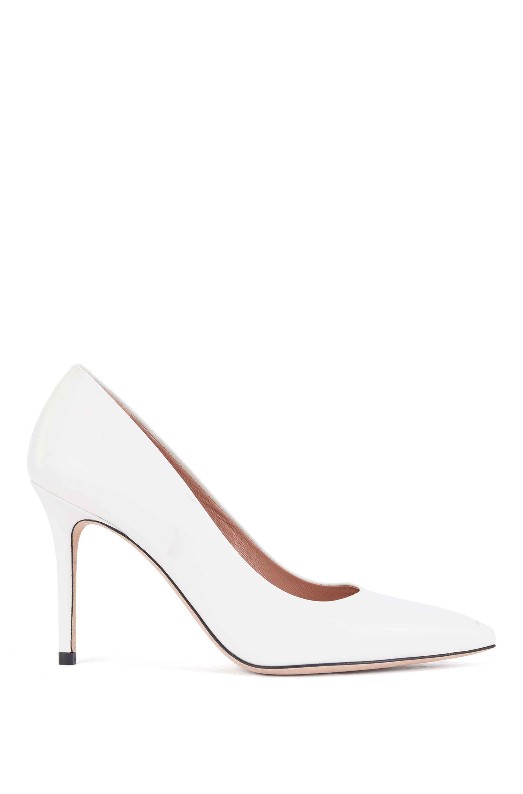 Pointed-toe court shoes in Italian leather, White