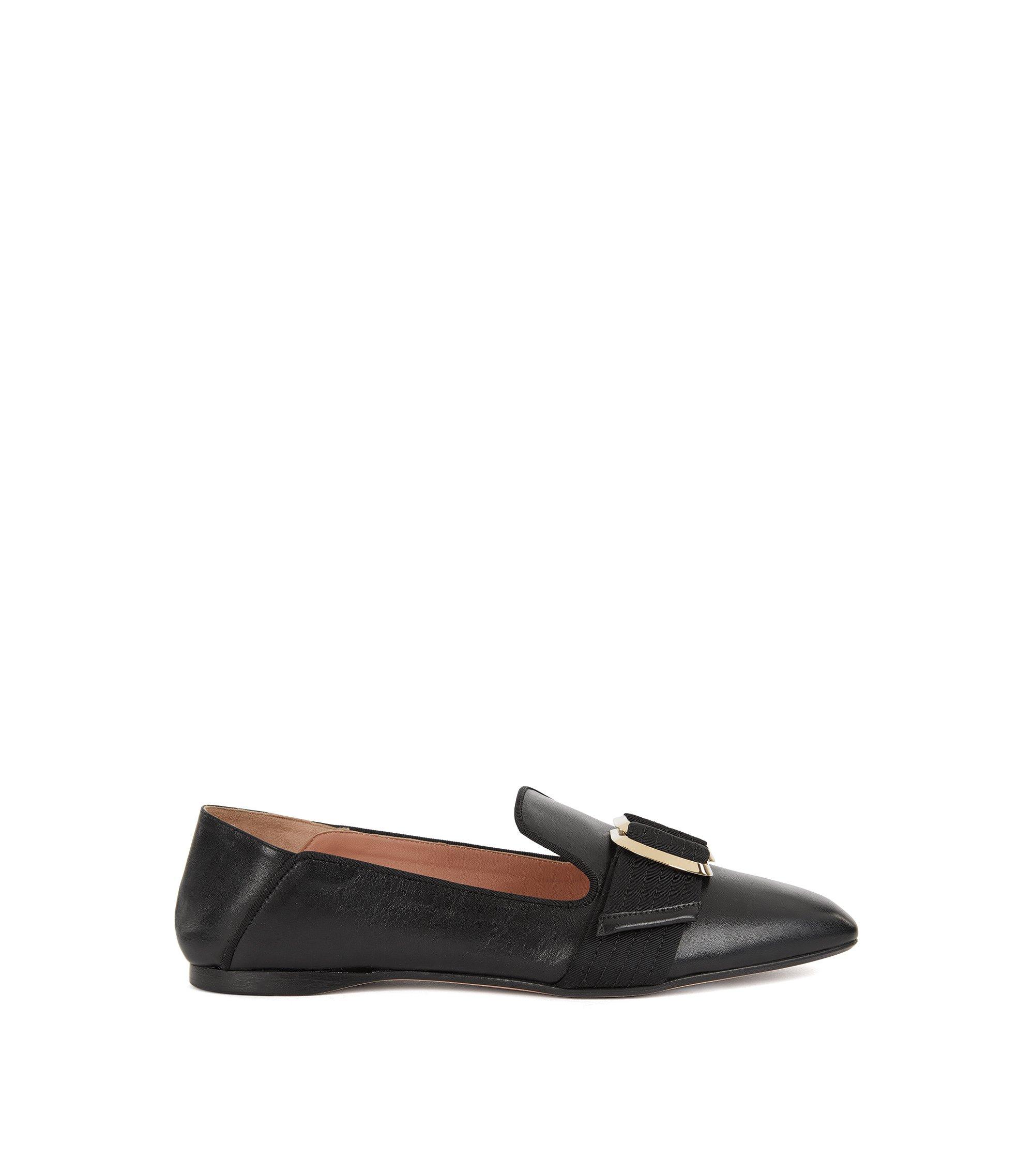 Loafer aus Leder mit Doppelring-Detail, Schwarz