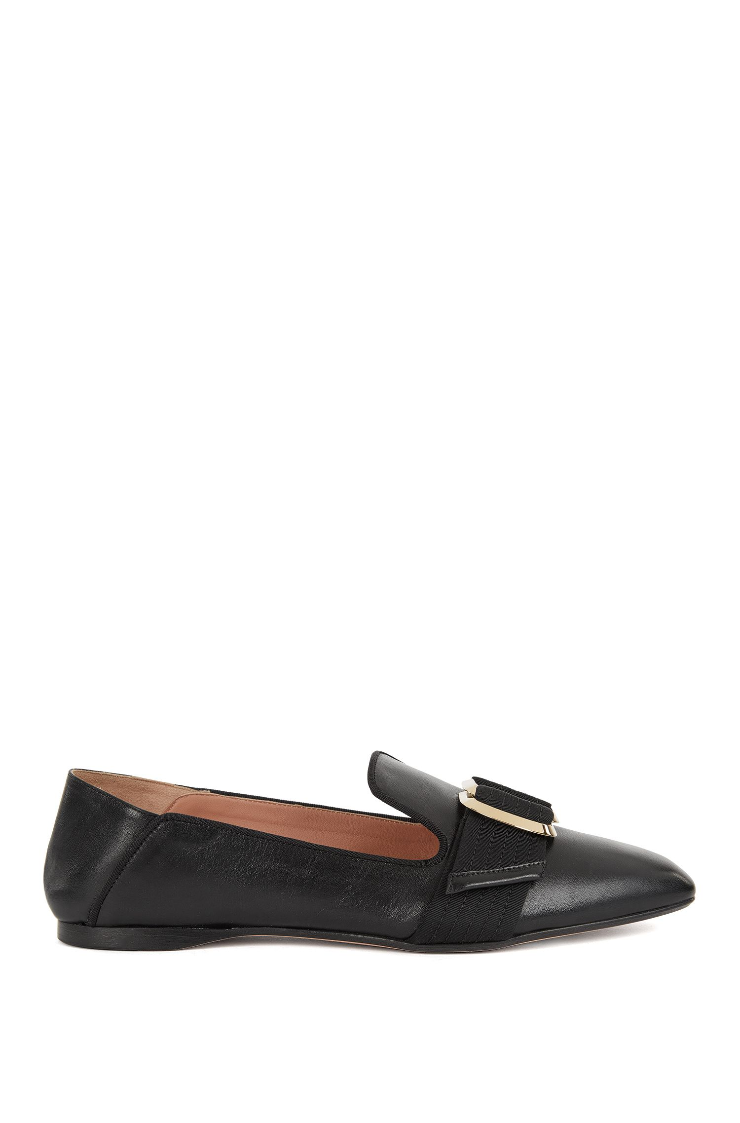 Leather loafers with double-ring trim