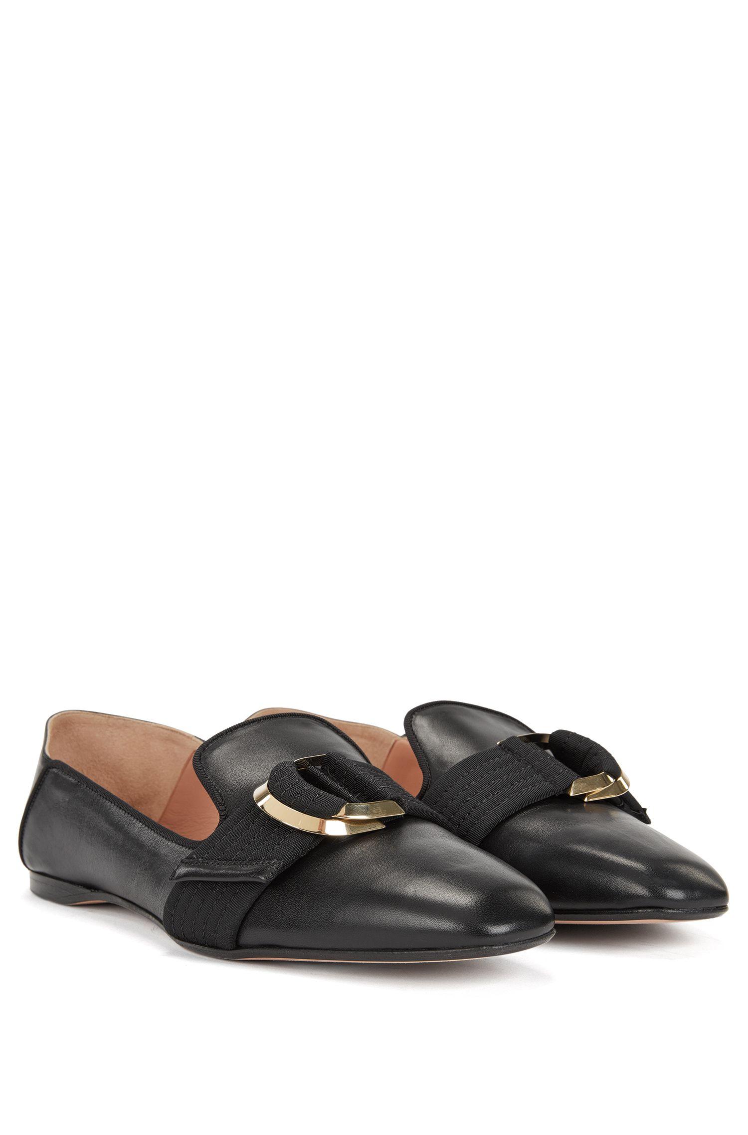 Loafer aus Leder mit Doppelring-Detail