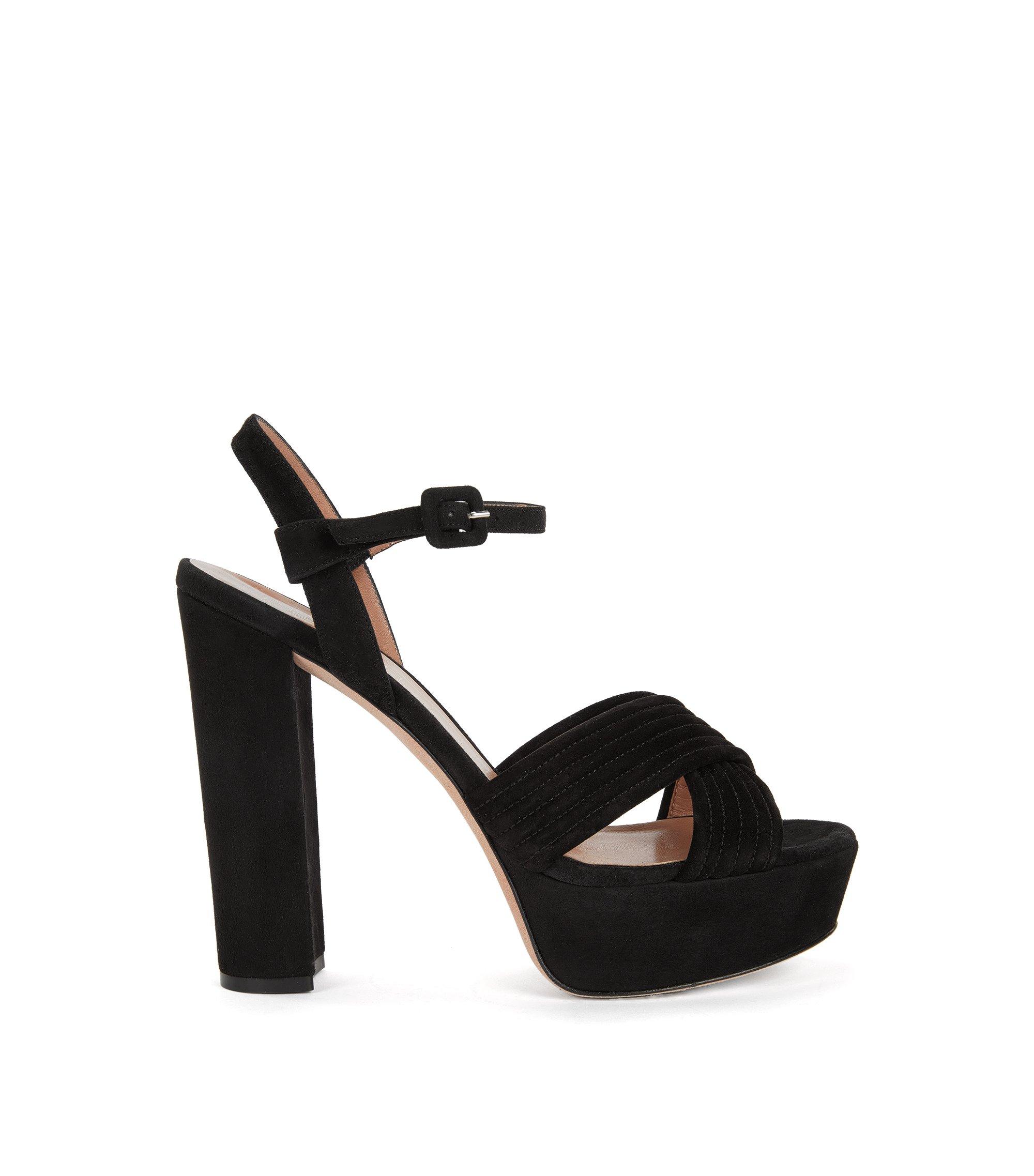 Sandales à plateforme en daim italien, Noir