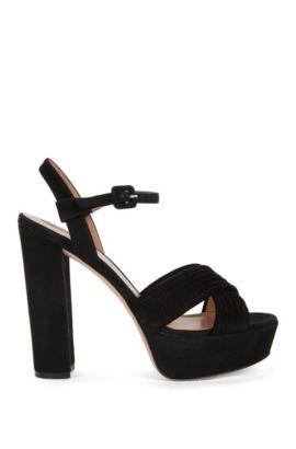 Platform sandals in Italian suede, Black