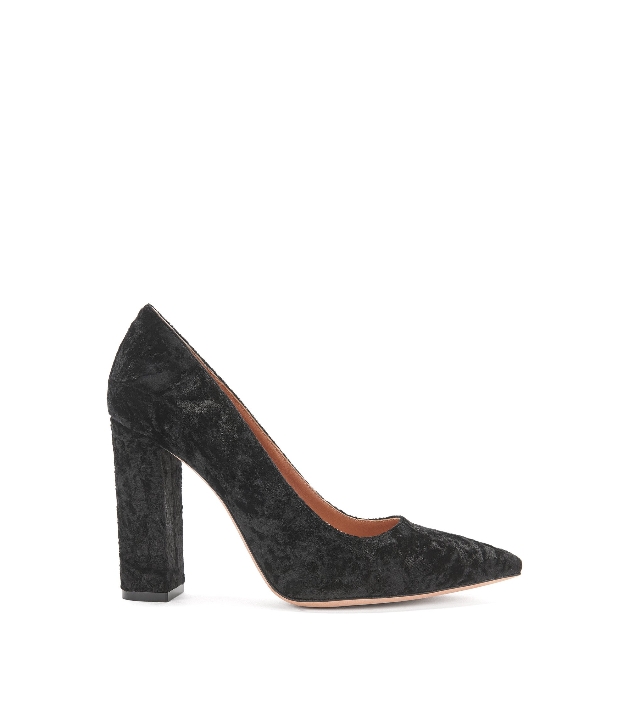 Crushed velvet pumps with block heel, Black