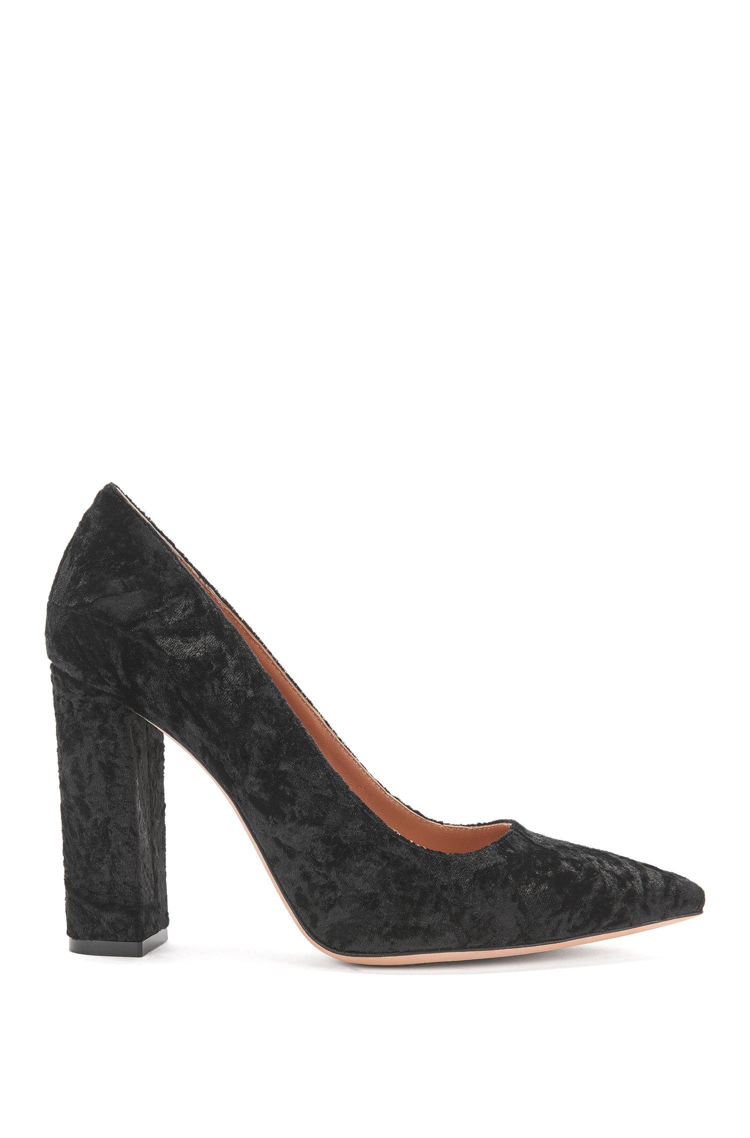 Crushed velvet pumps with block heel