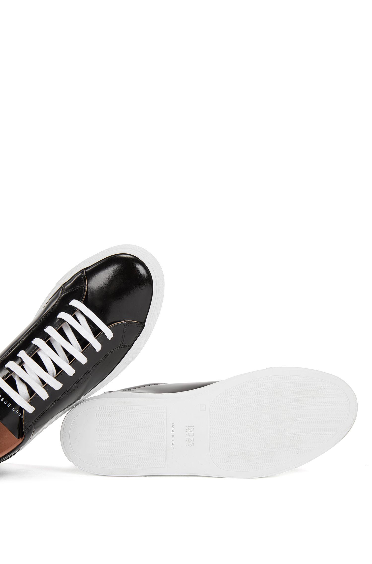 Lage sneakers van gepoetst leer, Zwart